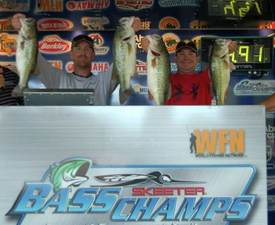 Jonathan Garrie and Keith Morris won first place and $20,000 with their 25.63-pound limit. Patty Lenderman/The Lakecaster