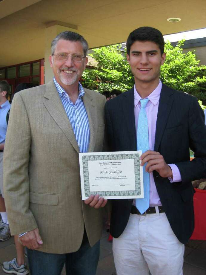 Steven Mueller Architects of Greenwich presented an architectural scholarship award to New Canaan High School senior Nicolo Scandiffio. Photo: Contributed Photo / New Canaan News
