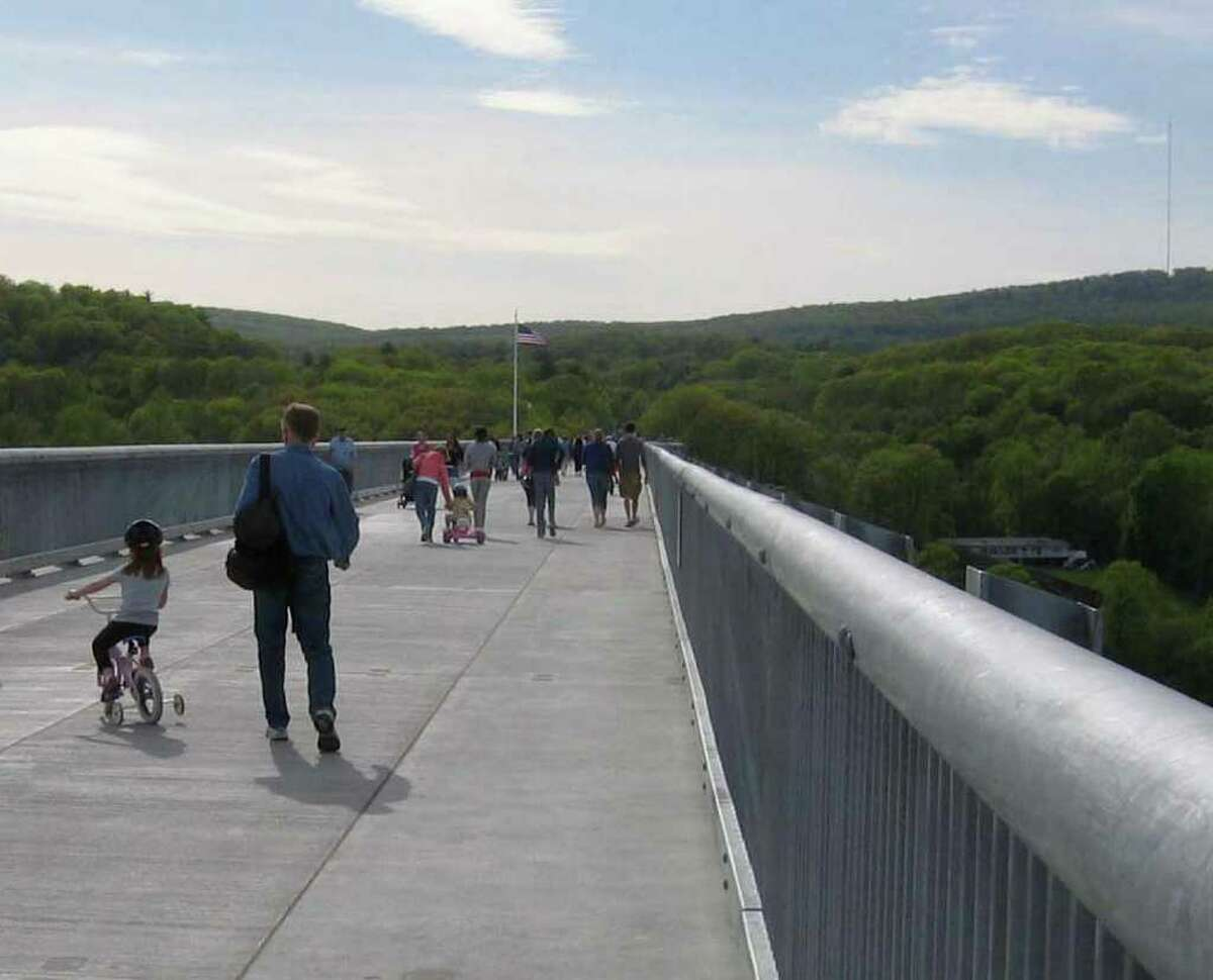 Looking west toward the Highlands of Ulster County from the Walkway Over The Hudson, the century-old former railroad bridge that has been converted into a pedestrian walway over the Hudson River. (Times Union photo)