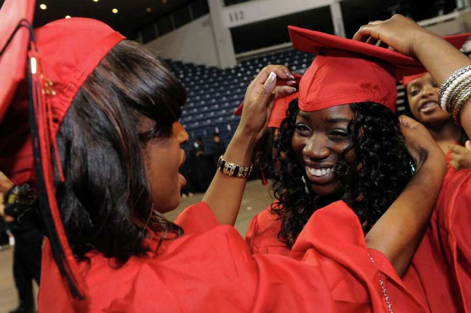 Graduation exercises for the Central High School class of 2011 at the Webster Bank Arena at Harbor Yard, in Bridgeport, Conn. Monday, June 20th, 2011. Photo: Ned Gerard / Connecticut Post