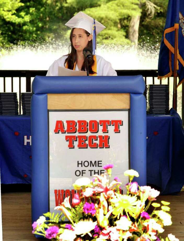 Fernanda Olivera, valedictorian speaks at Henry Abbott Technical High School graduation at the Ives Center in Danbury Monday, June 20, 2011. Photo: Michael Duffy / The News-Times