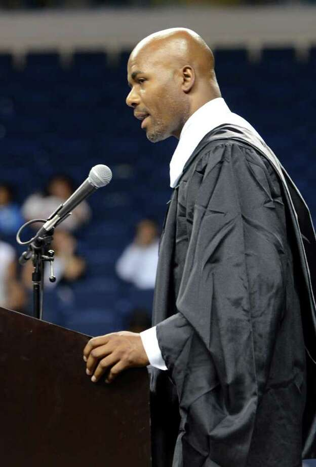 Principal Kevin Walston addresses the graduates during the 2011 Warren Harding High School Commencement at Webster Bank Arena in Bridgeport on Monday, June 20, 2011. Photo: Amy Mortensen / Connecticut Post Freelance