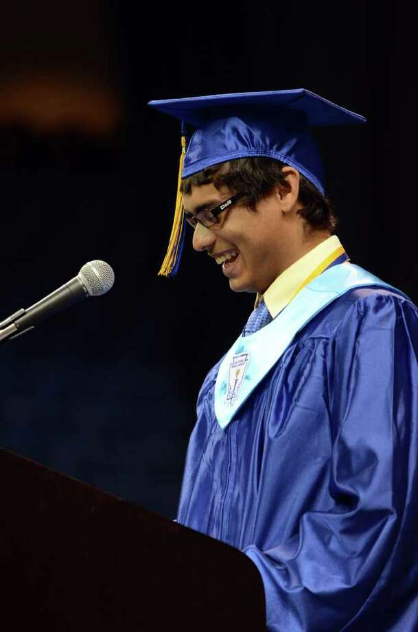 Valedictorian Brandon Holland addresses his peers during the 2011 Warren Harding High School Commencement at Webster Bank Arena in Bridgeport on Monday, June 20, 2011. Photo: Amy Mortensen / Connecticut Post Freelance