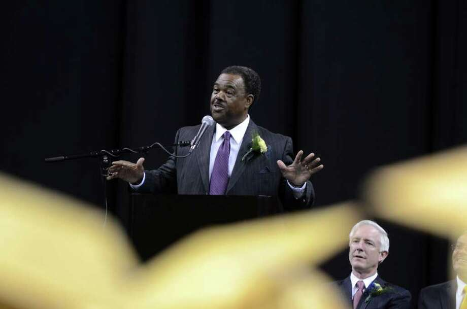 Ed Joyner gives the commencement address during the 2011 Warren Harding High School Commencement at Webster Bank Arena in Bridgeport on Monday, June 20, 2011. Photo: Amy Mortensen / Connecticut Post Freelance