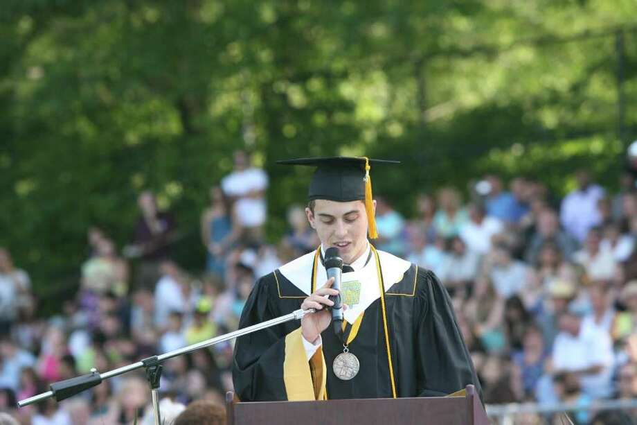 Andrew Fowler gives the Valedictory Address at the Jonathan Law High School Commencement ceremony in Milford on Monday, June, 20, 2011. Photo: B.K. Angeletti / Connecticut Post