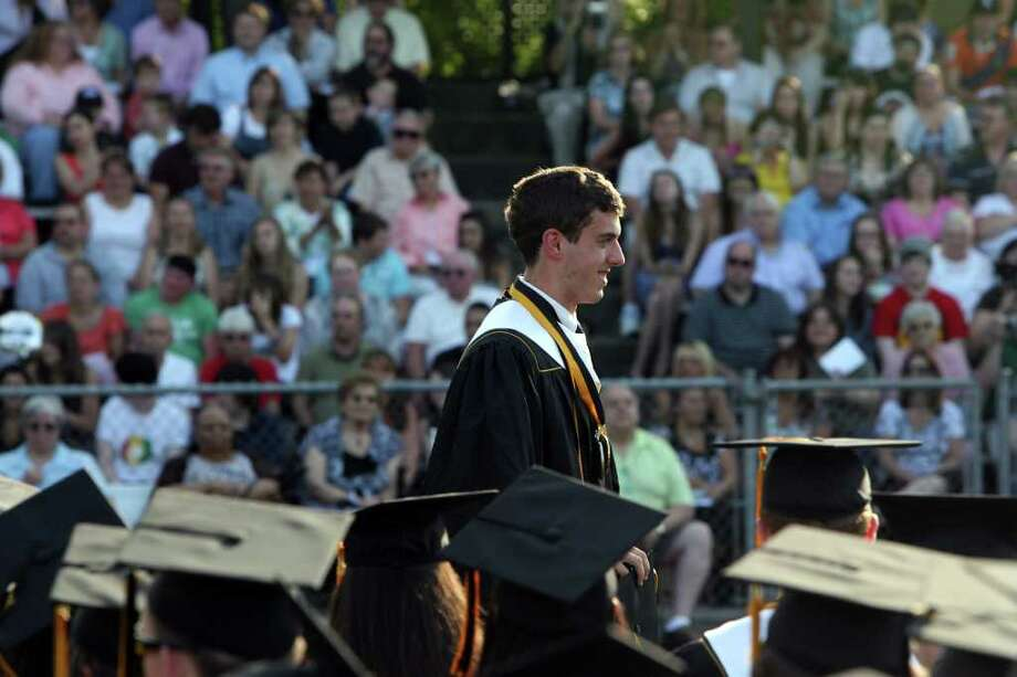 Andrew Fowler gives the Valedictory Address at Jthe Jonathan Law High School Commencement ceremony in Milford  on Monday, June, 20, 2011. Photo: B.K. Angeletti / Connecticut Post