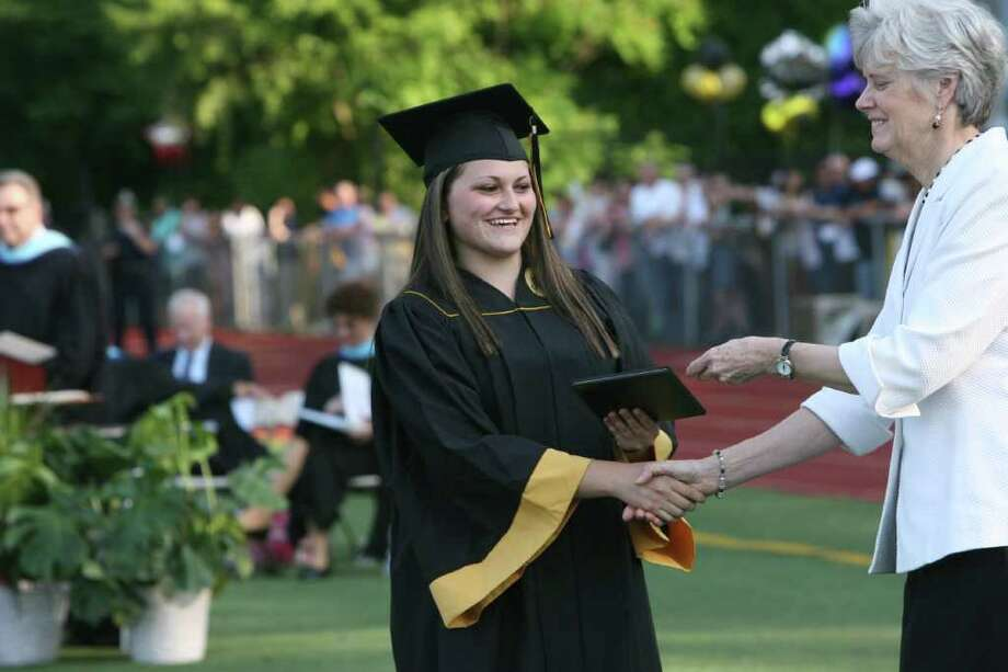 Christa Cerreta receives her diploma at the Jonathan Law High School Commencement ceremony in Milford on Monday, June, 20, 2011. Photo: B.K. Angeletti / Connecticut Post