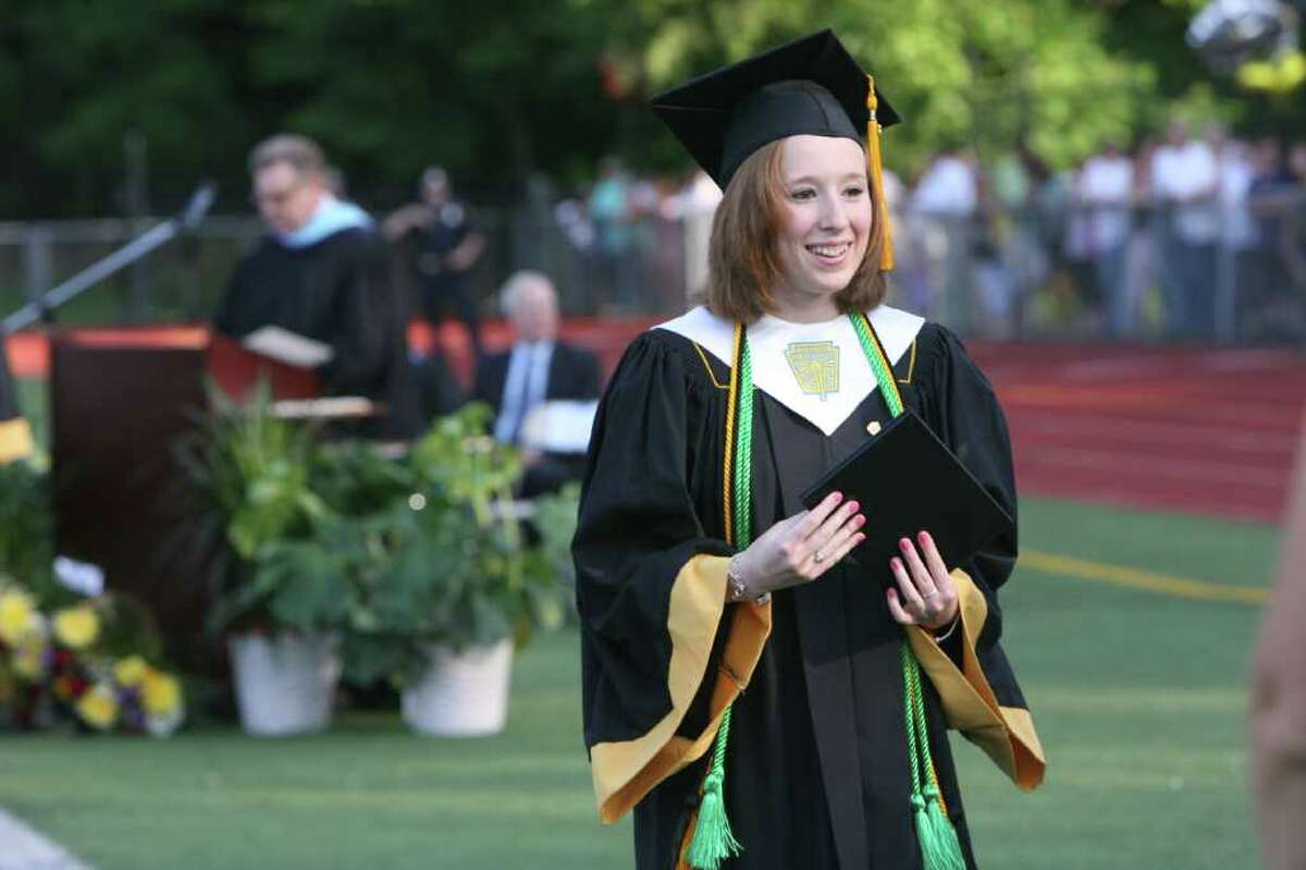 Jaclyn Davis receives her diploma at the Jonathan Law High School Commencement ceremony in Milford on Monday, June, 20, 2011.