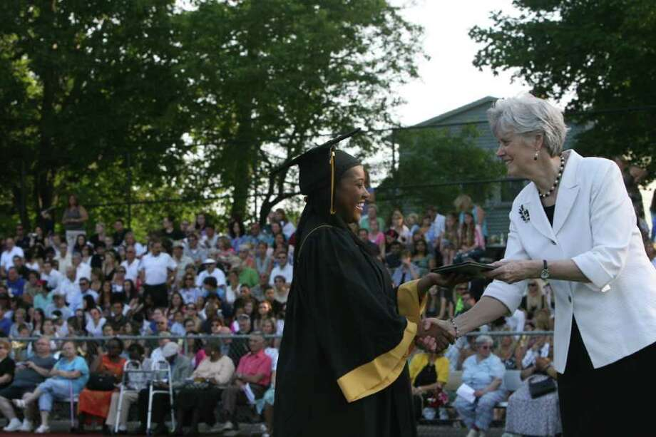 Camisha Johnson receives her diploma at the Jonathan Law High School Commencement ceremony in Milford on Monday, June, 20, 2011. Photo: B.K. Angeletti / Connecticut Post