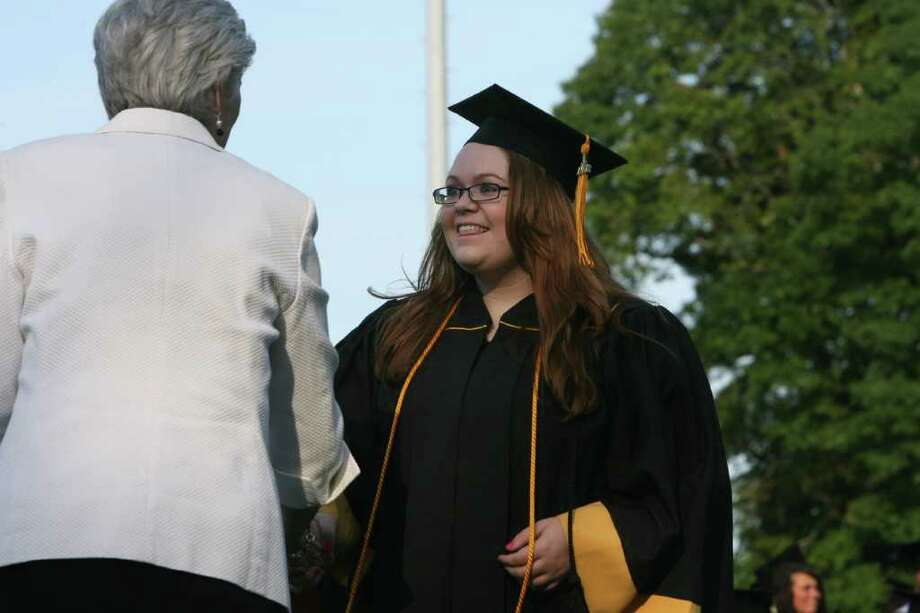 Megan Morse receives her diploma at the Jonathan Law High School Commencement ceremony in Milford  on Monday, June, 20, 2011. Photo: B.K. Angeletti / Connecticut Post