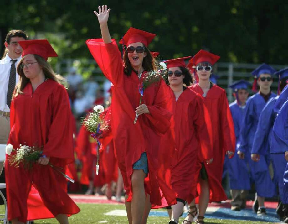 Graduates march on to the athletic field for the Class of 2011 Commencement Exercises at Foran High School in Milford on Monday, June 20, 2011. Photo: Brian A. Pounds / Connecticut Post