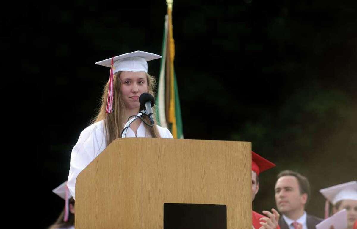 Salutatory addresses at the Greenwich High School's graduation on Monday, June 20, 2011.