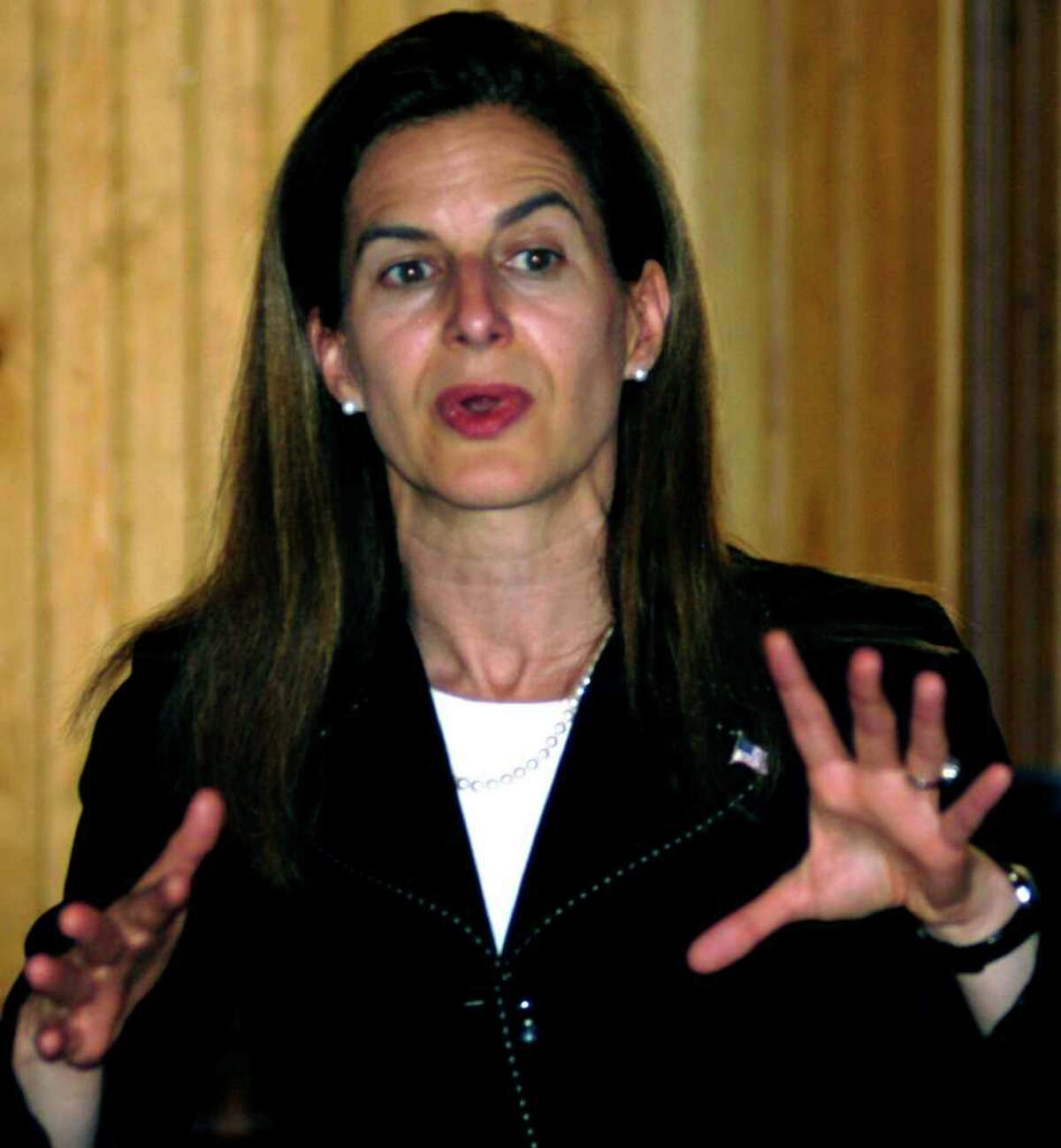 SPECTRUM/Former Secretary of the State Susan Bysiewicz talks Monday with fellow Democrats about her run for the U.S. Senate during a meeting of the New Milford Democratic Town Committee. June 2011
