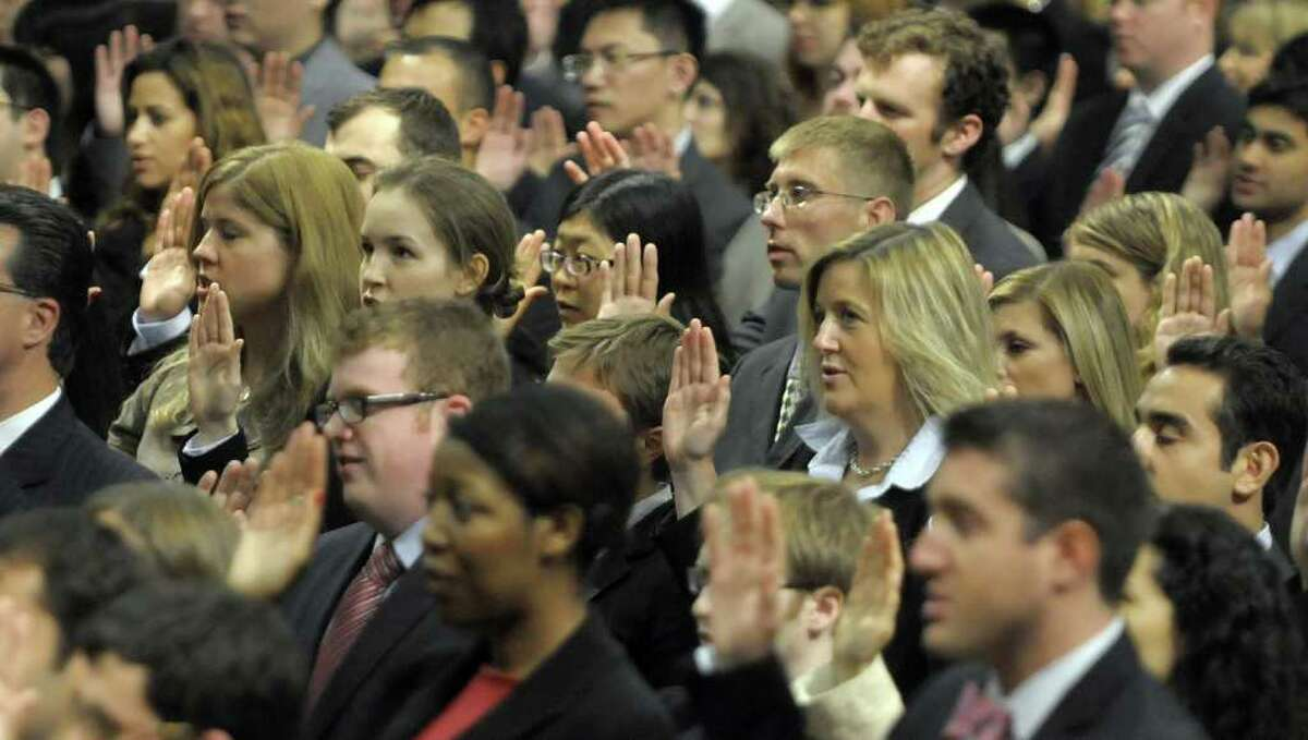 The lawyers that were sworn-in on Tuesday come from 38 states, the District of Columbia, Puerto Rico and 32 foreign countries. Justices from the New York State Supreme court Appellate division Third Judicial Department hosted and took part in the ceremony. (Paul Buckowski / Times Union)