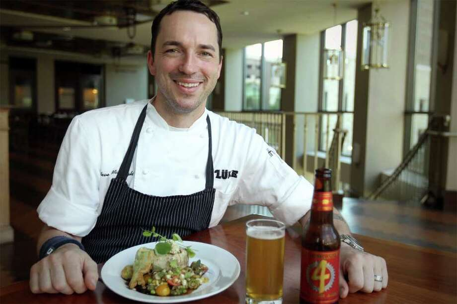Chef Steve McHugh prepared grilled lemon fish, with Pearl Market vegetable succotash, shrimp stuffed okra, and okra roe paired with Fireman's 4 Blonde Ale, to be be one of the selections on the menu at Luke's seasonal Real Ale Beer Dinner, June 28. Photographed at Luke, June 13, 2011. Photo: Jennifer Whitney, JENNIFER WHITNEY / Jennifer Whitney