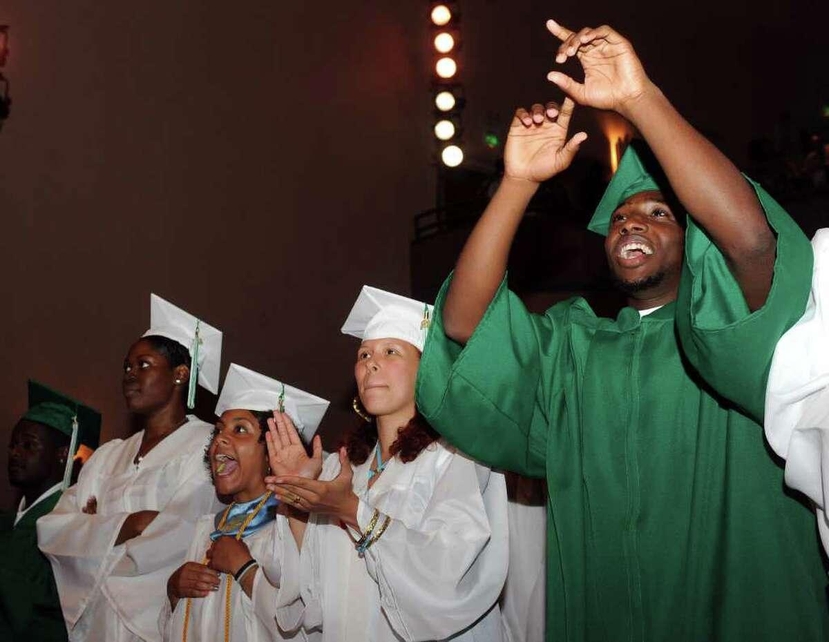 Bassick High School's graduation ceremony at Klein Memorial Auditorium on Tuesday, June 21, 2011.