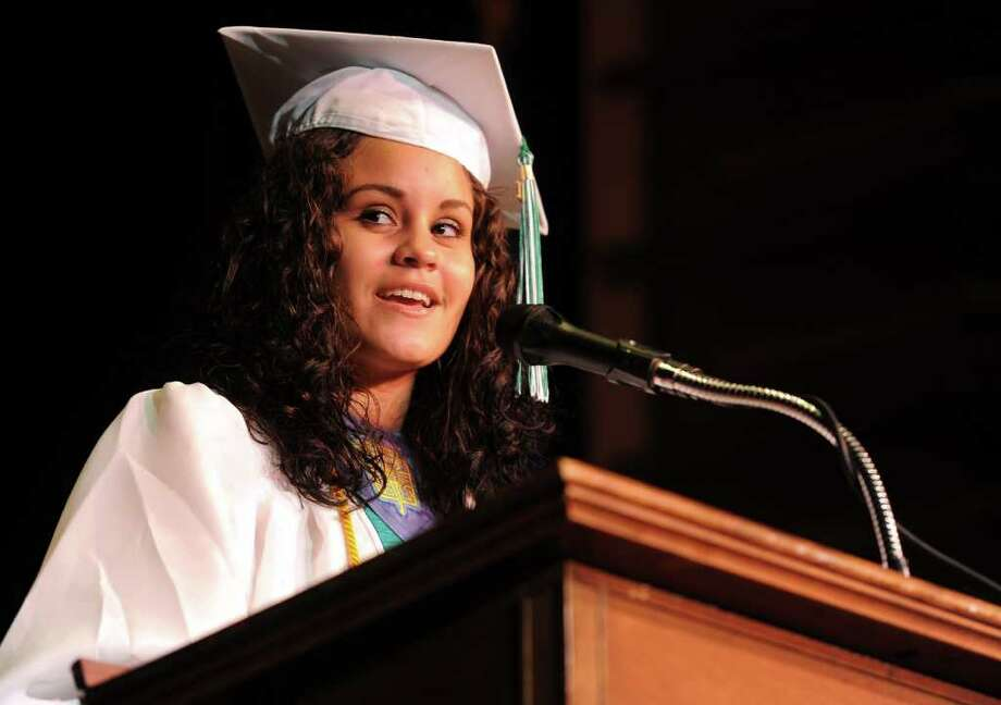 Senior Class Vice President Kim Cruz speaks during Bassick High School's graduation ceremony at Klein Memorial Auditorium on Tuesday, June 21, 2011. Photo: Lindsay Niegelberg / Connecticut Post