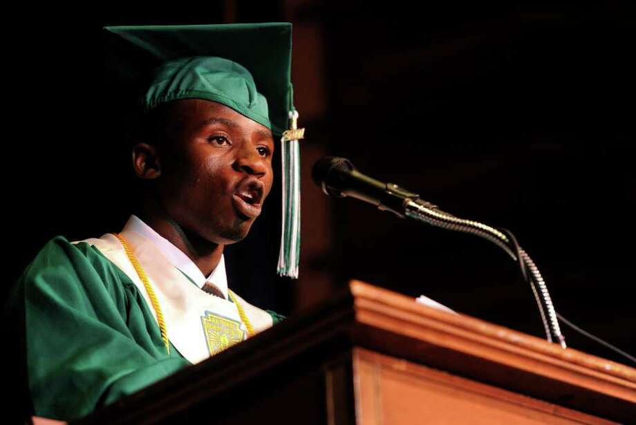Salutatorian Marwane Agrignan speaks during Bassick High School's graduation ceremony at Klein Memorial Auditorium on Tuesday, June 21, 2011. Photo: Lindsay Niegelberg / Connecticut Post