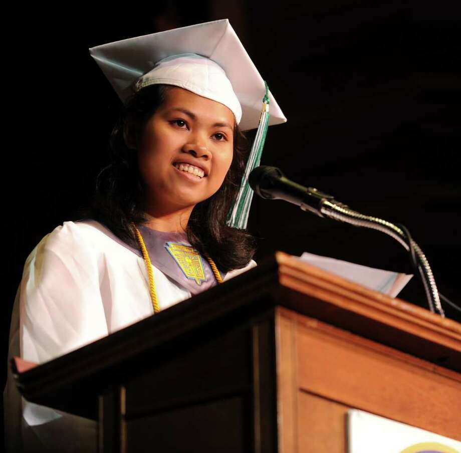 Valedictorian Rachny Pel speaks during Bassick High School's graduation ceremony at Klein Memorial Auditorium on Tuesday, June 21, 2011. Photo: Lindsay Niegelberg / Connecticut Post