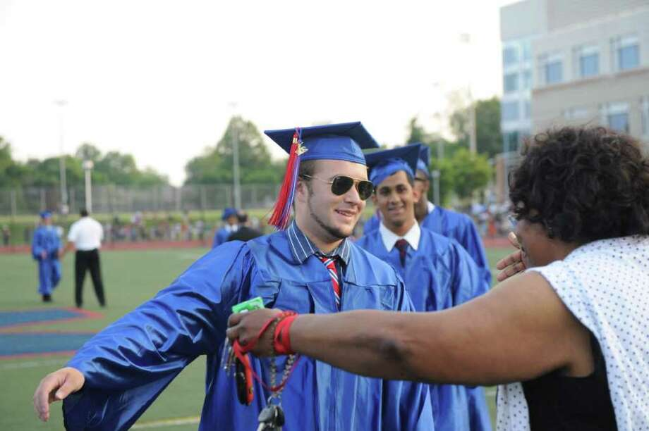 Brien McMahon High School celebrates its fiftieth graduating class with commencement exercises in Norwalk, Conn., June 21, 2011. Photo: Keelin Daly / Stamford Advocate