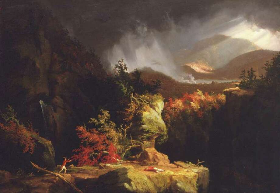 """Gleyna, or A View Near Ticonderoga.""  Oil on board by Thomas Cole, 1826.  (Fort Ticonderoga Museum Collection)"
