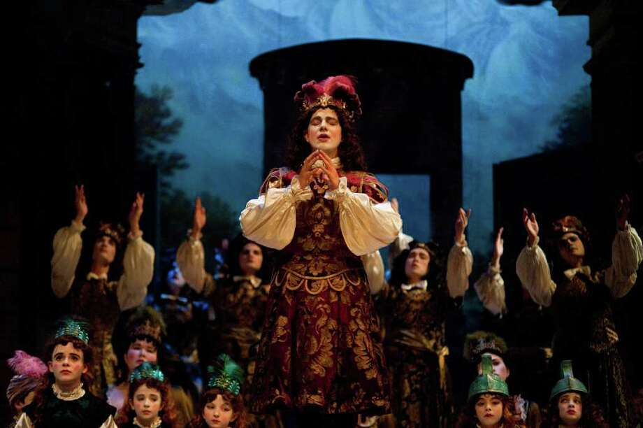 "Philippe Jaroussky and cast in a scene from the 2011 Boston Early Music Festival centerpiece opera production of Steffani's ""Niobe, Regina di Tebe."" (Andre Costantini)"