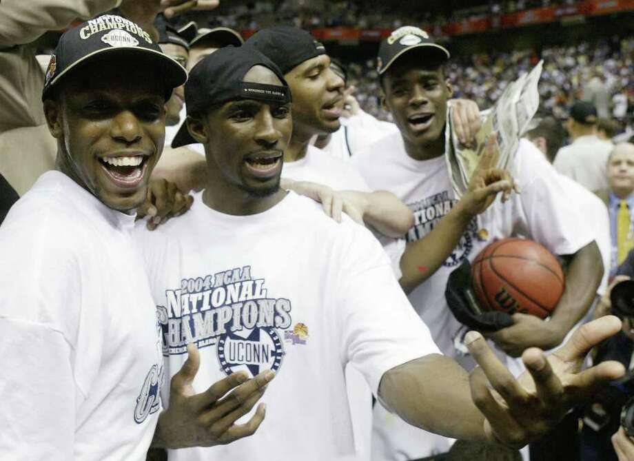 THE UCONN MEN'S BASKETBALL PROGRAM has been blessed with 11 NBA lottery picks over the years, among them Ben Gordon (second from left) and Emeka Okafor (far right) celebrating the 2004 National Championship. The following photos details all 11 UConn lottery picks, their NBA careers. Photo by Stephen Dunn/Getty Images) Photo: Getty Images