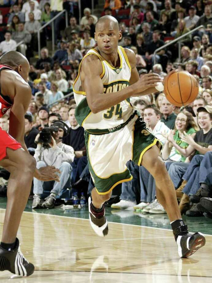 RAY ALLEN -- In 2003, Allen (34) was traded to Seattle along with former UConn teammate Kevin Ollie. He played for the Supersonics from 2003-2007. (Photo by Otto Greule Jr/Getty Images) Photo: Getty Images