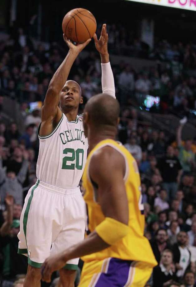 RAY ALLEN -- Allen was sent to the Boston Celtics in 2007, where he as continued make his mark as one of the NBA's all-time great shooters. He helped the Celtics in an NBA championship in 2008. Above, he becomes the league's all-time leader in 3-pointers during a game vs. the Los Angeles Lakers, February 10, 2011 at the TD Garden in Boston, Massachusetts. (Photo by Elsa/Getty Images) Photo: Getty Images