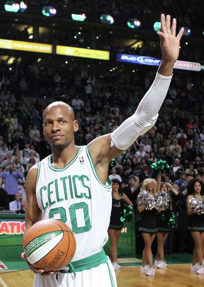 RAY ALLEN -- Ray Allen (20) is recognized at TD Garden for setting the NBA three-point record before a game against the Miami Heat on February 13, 2011 in Boston, Massachusetts.   Allen recently completed his 14th pro season. A 10-time all-star, he has averaged 20.2 points, 3.6 assists, 1.2 steals and 4.3 rebounds per game. His 22,286 career points place him 24th on the NBA's career scoring list. His 2,612 career 3-pointers are an NBA record.  (Photo by Jim Rogash/ Getty Images) Photo: Getty Images