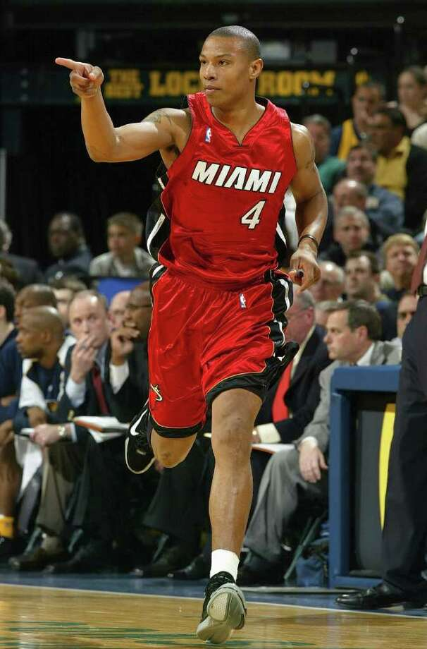 CARON BUTLER (above playing for the Heat in the 2004 Eastern Conference Semifinals vs. Indiana) spent just two seasons in Miami. He was part of a deal that brought Shaquille O'Neal to the Heat and sent Butler to Los Angeles (Photo by Andy Lyons/Getty Images) Photo: Getty Images