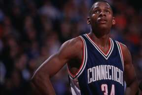 RAY ALLEN -- After a stellar career at UConn, Allen declared for the NBA draft following his junior season in 1996 and was taken No. 5 by the Minnesota Timberwolves. (Getty Images)