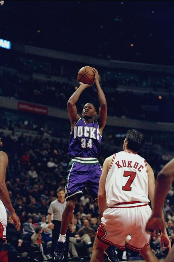 RAY ALLEN -- Immediately after being picked fifth overall in the 1996 NBA Draft, Allen (above in 1999) was traded to the Milwaukee Bucks where he played eight seasons. (Jonathan Daniel /Allsport) Photo: Allsport, Jonathan Daniel