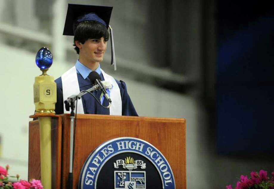 Valedictorian Eric Brett Lubin addresses the class of 2011 during Staples High School's 124th commencement ceremony Wednesday, June 22, 2011 at the school. Photo: Autumn Driscoll / Connecticut Post