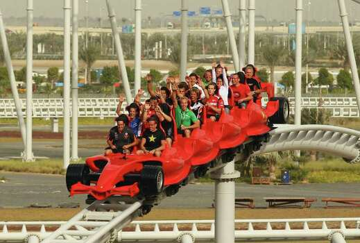 V8 Supercar drivers take a ride on a roller coaster at Ferrari World on Feb. 9, 2011, in Abu Dhabi, United Arab Emirates. Photo: Robert Cianflone, Getty Images / 2011 Getty Images