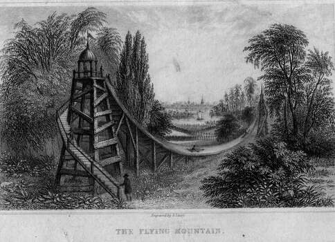 But roller coasters weren't always so complex and speedy. Here is a 19th century big dipper or 'Flying Mountain,' circa 1825. Photo: Hulton Archive, Getty Images / Hulton Archive