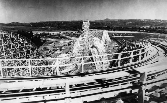 A view from the top of the Magic Mountain Colossus roller coaster ride near Los Angeles in 1979. Photo: Central Press, Getty Images / Hulton Archive