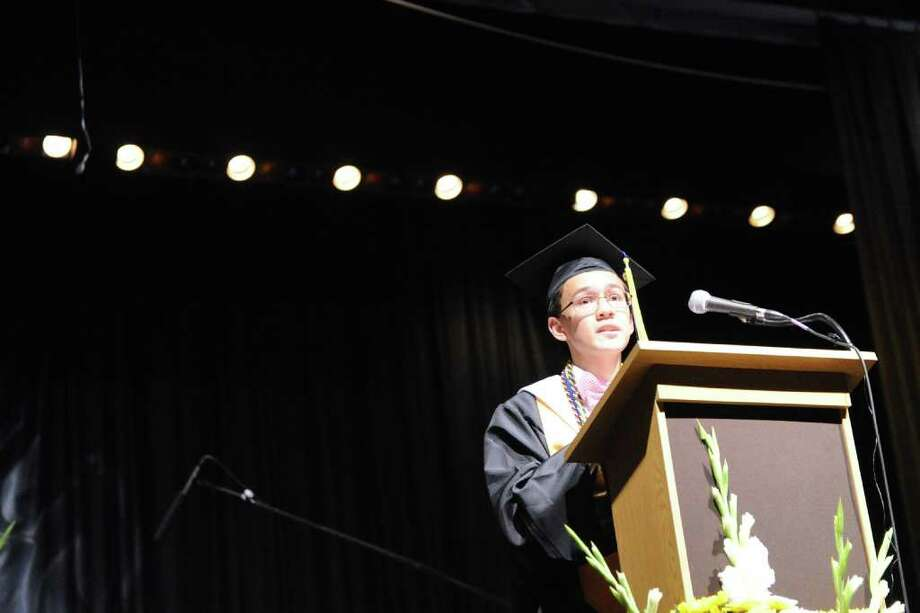 The Academy of Information Technology & Engineering holds its 2011 commencement exercises inside the Rippowam Auditorium in Stamford, Conn., June 22, 2011. Photo: Keelin Daly / Stamford Advocate