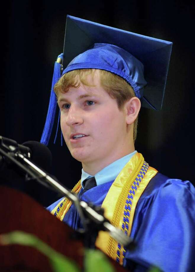Newtown High School valedictorian Drew Robinson addresses the audience Wednesday evening during commencement exercises held at Western Connecticut State University's O'Neill Center. Graduation was held June 22, 2011. Photo: Carol Kaliff / The News-Times