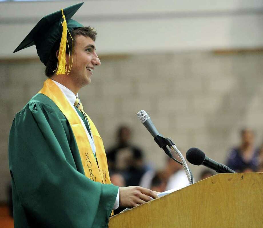 Class President Michael Corasaniti speaks during Norwalk High School's graduation ceremony on Wednesday, June 22, 2011. Photo: Lindsay Niegelberg / Connecticut Post