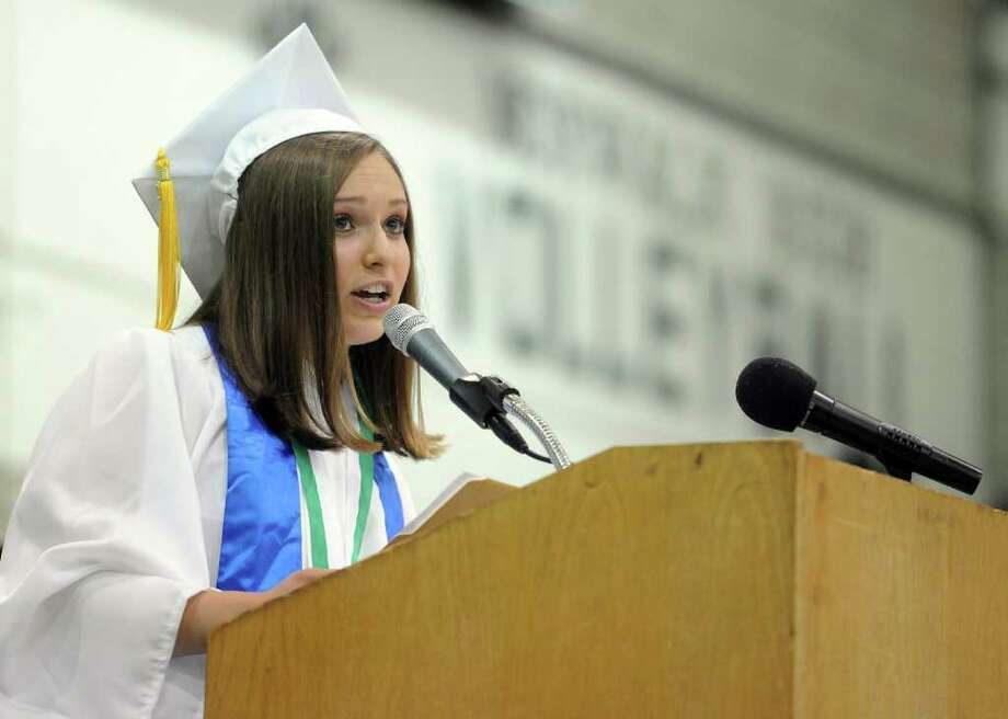 Valedictorian Lorena Sferlazza speaks during Norwalk High School's graduation ceremony on Wednesday, June 22, 2011. Photo: Lindsay Niegelberg / Connecticut Post