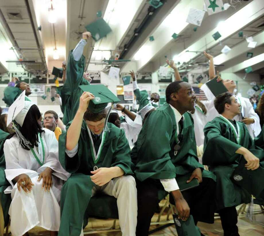 Norwalk High School's graduation ceremony on Wednesday, June 22, 2011. Photo: Lindsay Niegelberg / Connecticut Post