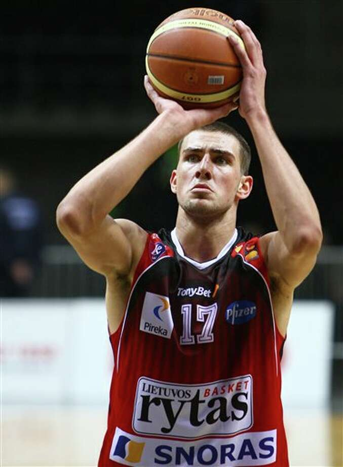 Lithuanian basketball player Jonas Valanciunas,, playing for Lithuania's BC Lietovos Rytas, during a game in Vilnius, Lithuania. Valanciunas is a top prospect in the 2011 draft  (AP Photo/Mindaugas Kulbis, File) Photo: Associated Press