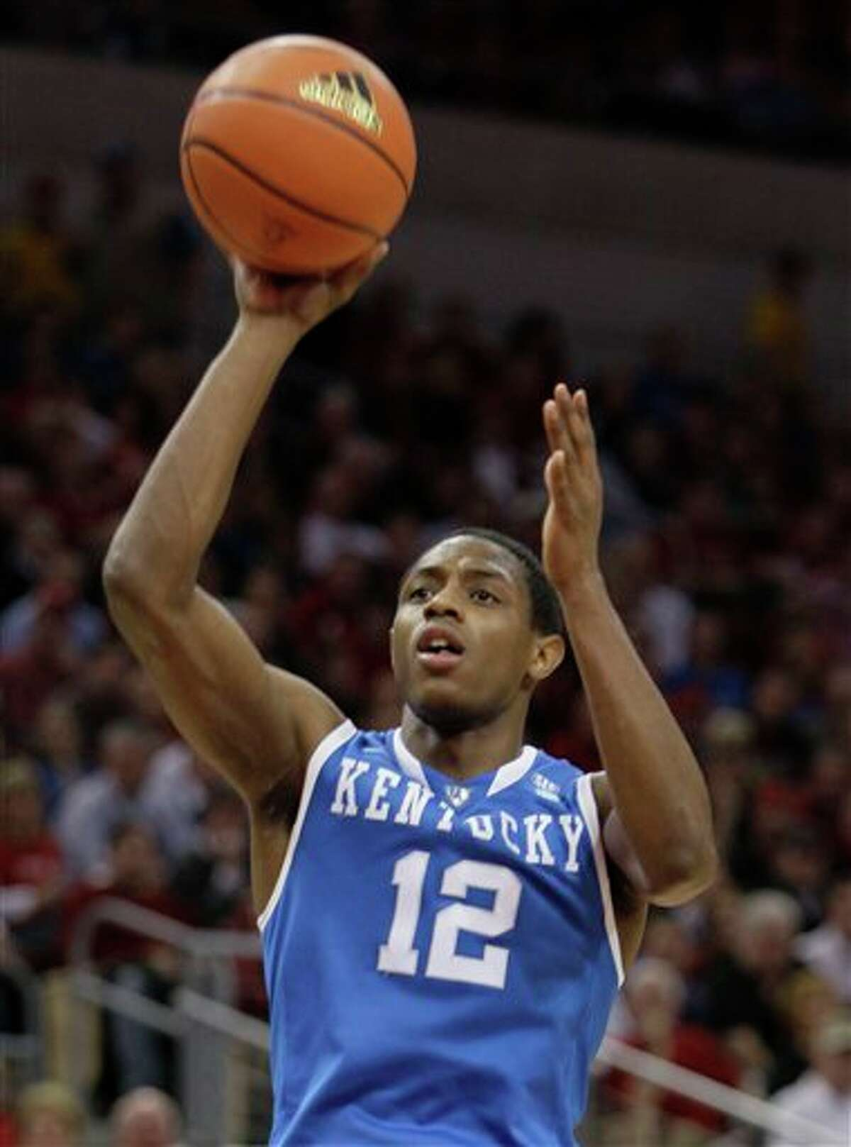 Kentucky's Brandon Knight shoots during the first half of an NCAA college basketball game in Louisville, Ky. All Knight did as a freshman was produce knock-out shots that propelled a young Kentucky team into the Final Four. Knight figures to be sitting at No. 3 when the Utah Jazz pick in Thursday's NBA draft. (AP Photo/Ed Reinke, File) 2011 NBA draft