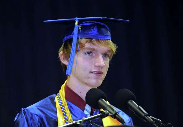 Salutatorian Brian A. Reed speaks Wednesday. Newtown High School commencement exercises were held at Western Connecticut State University's O'Neill Center Wednesday, 2011. Photo: Carol Kaliff / The News-Times