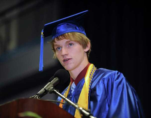 Salutatorian Brian A. Reed speaks Wednesday at Newtown High School's graduation.  June 22, 2011. Photo: Carol Kaliff / The News-Times