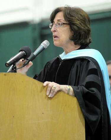 Superintendent Susan Marks speaks during Norwalk High School's graduation ceremony on Wednesday, June 22, 2011. Photo: Lindsay Niegelberg / Connecticut Post