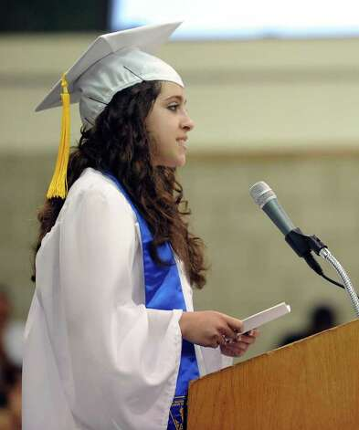 Salutatorian Gabrielle Nowack speaks during Norwalk High School's graduation ceremony on Wednesday, June 22, 2011. Photo: Lindsay Niegelberg / Connecticut Post