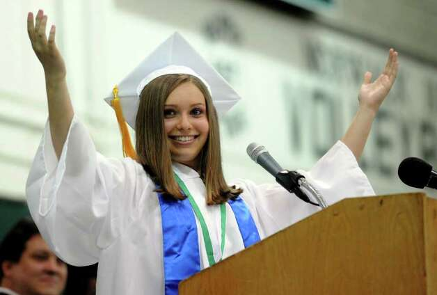 Valedictorian Lorena Sferlazza speaks during Norwalk High School's graduation ceremony on Wednesday, June 22, 2011. Photo: Lindsay Niegelberg / Connecticut Post