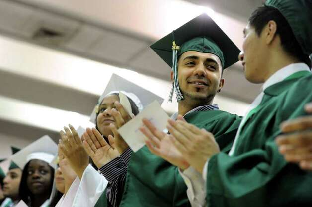 Norwalk High School's graduation ceremony on Wednesday, June 22, 2011. Photo: Lindsay Niegelberg / Connecticut Post